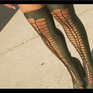 Forest Green Caged Eslatane Thigh-High Boots